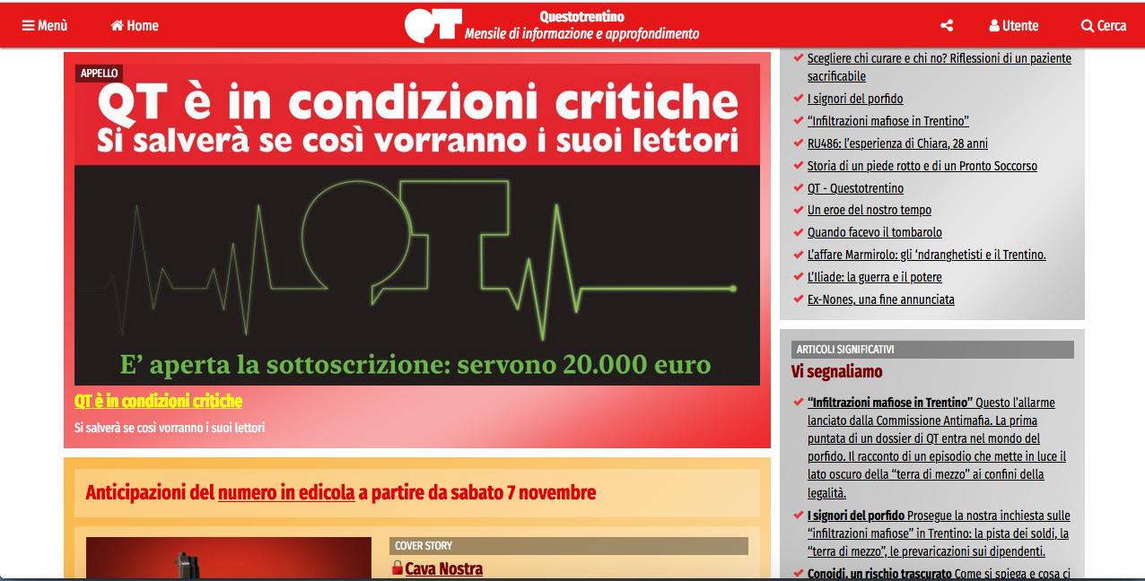 nella foto si vede la schermata web del giornale Questo Trentino